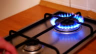 Ignition Of The Gas In The Burner On The Home Kitchen Stove video