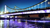 Illuminated bridge over Moscva river at night video