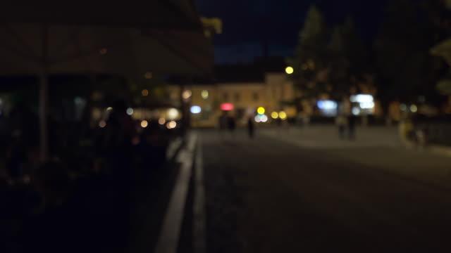 Illuminated city at night - defocused. video