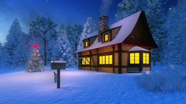 Illuminated cozy rustic house and christmas tree at snowfall night video