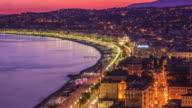 Illuminated Night Lights Beautiful Nice ,Sunset,France video