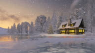 Illuminated rustic house and christmas tree at snowfall evening video