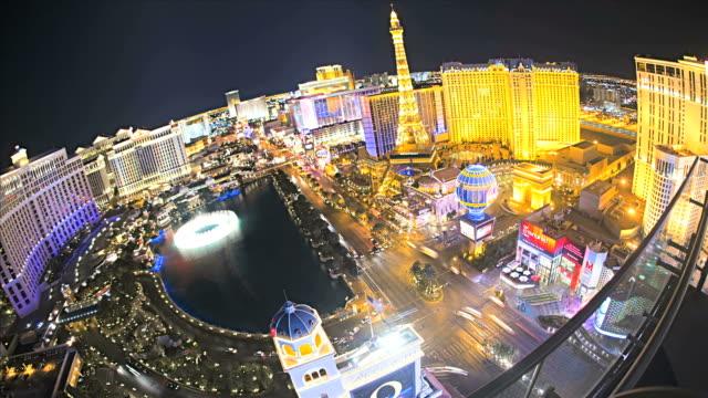 Illuminated view Bellagio Hotel fountains  Las Vegas Strip, USA, Time Lapse video