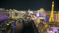 Illuminated view Bellagio Hotel nr Caesars Palace, Las Vegas, USA, Time Lapse video
