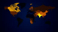 Illuminated World Map Communication loop. Countries light up in yellow. video