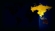 Illuminated World Map Network Connections Communication loop. Countries light up. video