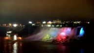 HD: Illumination light of American Niagara Falls, Ontario, Canada video