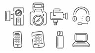 Illustration of gadgets icon set video