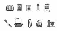 Illustration of office icon set video