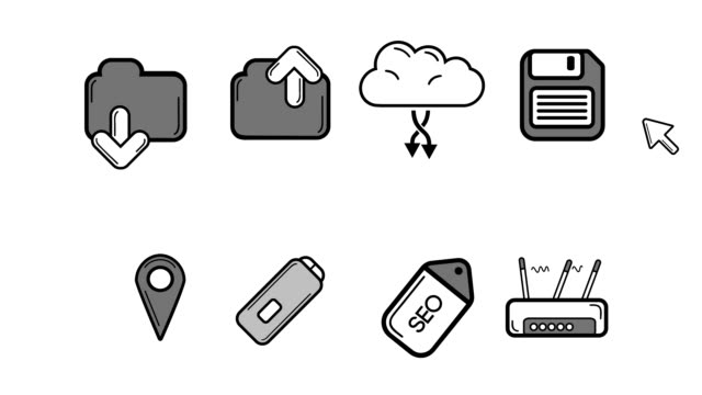 Illustration of technology icon video