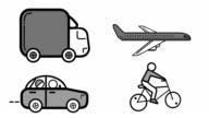 Illustration of transportation icon set video
