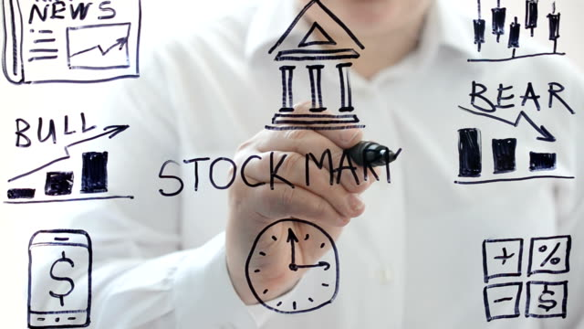 Illustration on stock exchange. We draw a marker. video