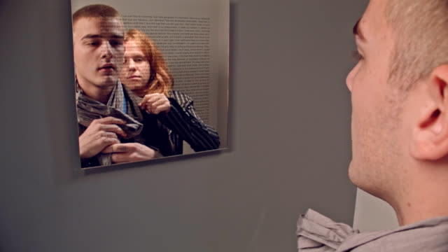 Image Sequence. OUTSIDER IN.Young Couple, Rule Breakers, Dress Up In Tight Space. video