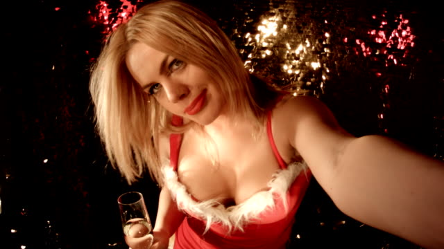 Image Sequence Selfie From a Nightclub. 'Merry Christmas' 'Happy New Year' video