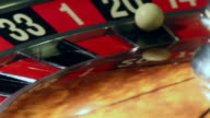 image with a casino roulette wheel with the ball on number close up video