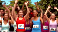 In high quality format fit people at race video