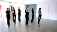 In model school young females are dancing video