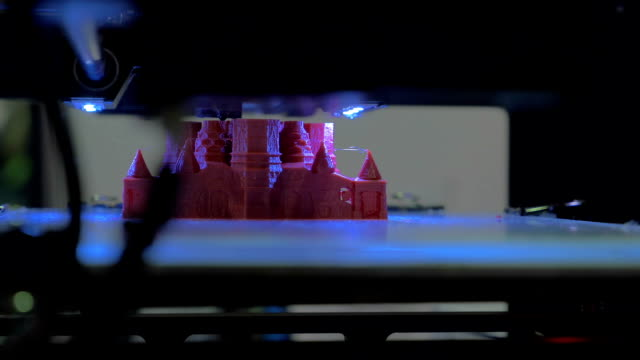 In Moscow, Russia on exhibition Robotix expo seen a 3D printer prints video