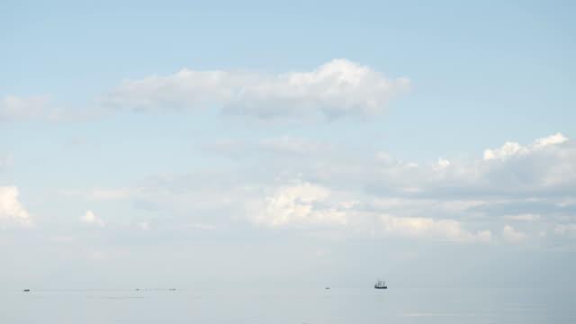 in sea sailing ship far around video