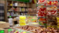 In the candy shop. Food background video