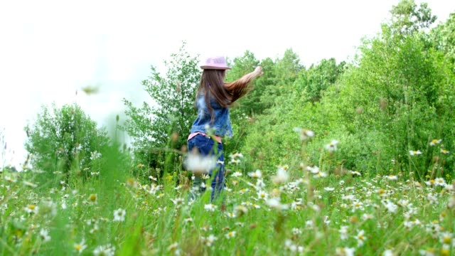 In the grass, among the daisies, in the meadow, dancing, jumping, having fun, a pretty girl, about seven years old. She has long blond hair, is dressed in a denim vest and a pink hat video