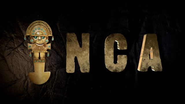 Inca 3d title with a tumi, a peruvian ancient ceremonial knive video
