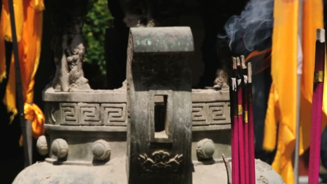 Incense burn in the temple in Xian, China. video