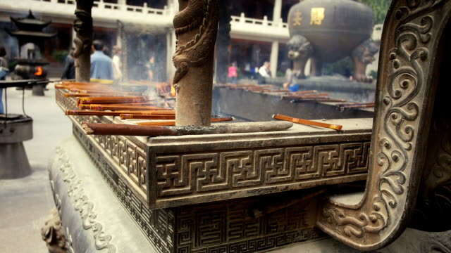 Incense sticks burning at a Buddhist Temple in Shanghai video