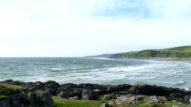 Incoming tide at Killantringan Bay Dumfries and Galloway video