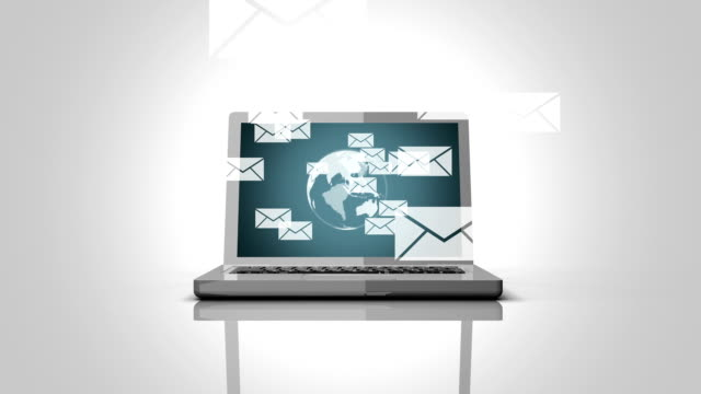 Incoming,Sending E-mails with notebook animation video