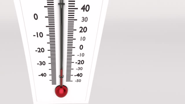 Increasing temperature on huge thermometer. video