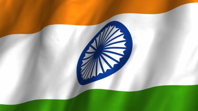 India Flag - waving, looping video