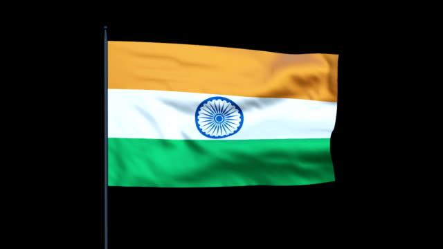 India Flag Waving, Seamless Loop, Alpha video