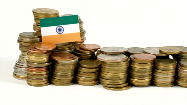India flag with stack of money coins video