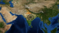 India map and flag from space video