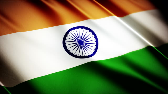 India realistic national flag seamless looped waving animation video
