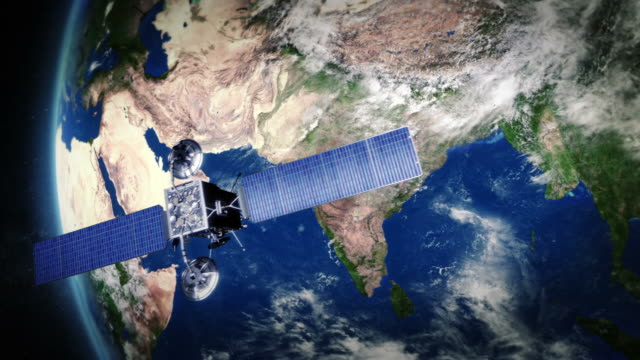 India. Telecommunication satellite orbiting Earth. video