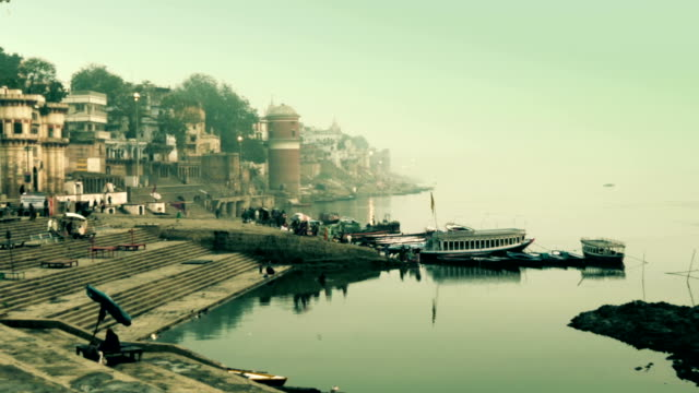 India, varanasi cityscape and ganges river video