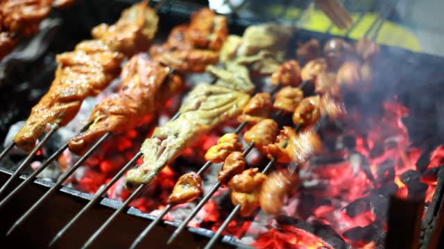 Indian chef preparing assorted Barbequed Chicken Tandoori at Roadside Shop video