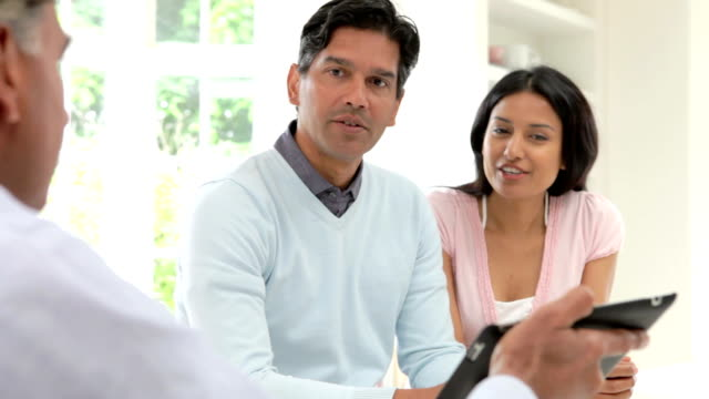 Indian Couple Meeting With Financial Advisor At Home video
