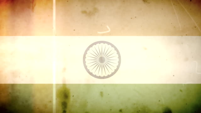 Indian Flag - Grungy Retro Old Film Loop with Audio video