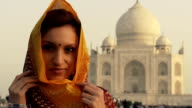Indian woman at Taj Mahal video