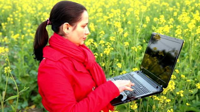 Indian Women working on Laptop video