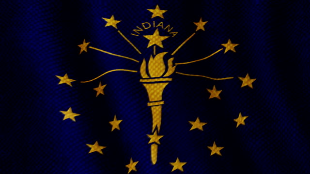 Indiana flag waving animation video
