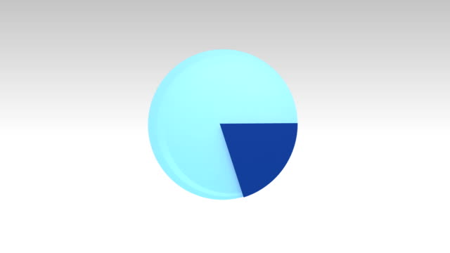 Indicate about 20 percents, growing 3D pie chart.(included alpha) video