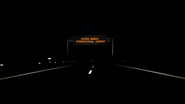 Indira Gandhi International Airport digital road sign and entrance sign. video