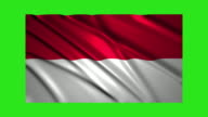 Indonesia flag waving,loopable on green screen video