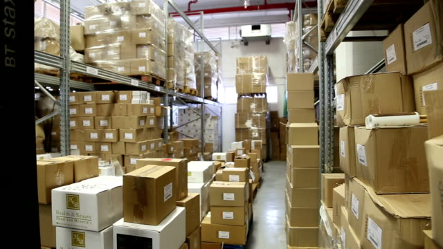 Indoor warehouse with boxes video