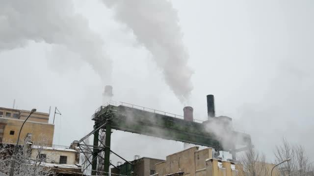 Industrial chimney smoke background video