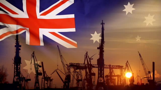 Industrial concept with Australia flag at sunset video